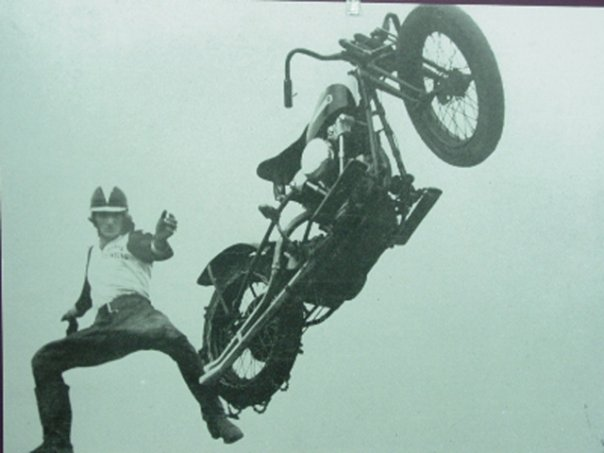 Jump the shark and conjure a chopper bike vortex. He probably meant to conjure a parachute.