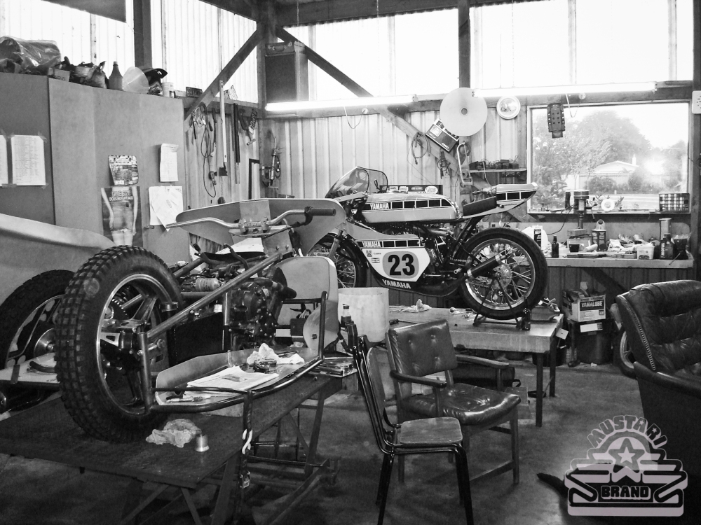 A Yamaha racer's garage - He and his old man owned a dealership and cranked out some screaming bikes